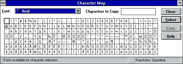 A screenshot of Character Map on Windows 3.1.